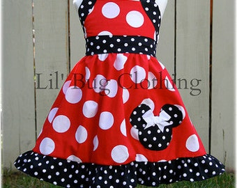 Minnie Mouse Girls Dress, Minnie Mouse Red White Polka Dot Dress, Minnie Mouse Birthday Party Dress, Minnie Mouse Summer Dress,