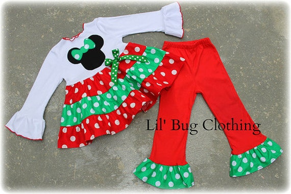 Minnie Mouse Christmas Outfit, Minnie Mouse Girl Clothes, Red Green Minnie  Mouse Polka Dot Girl Outfit, Boutique Girl Clothes - Minnie Mouse Christmas Outfit Minnie Mouse Girl Clothes Red Etsy