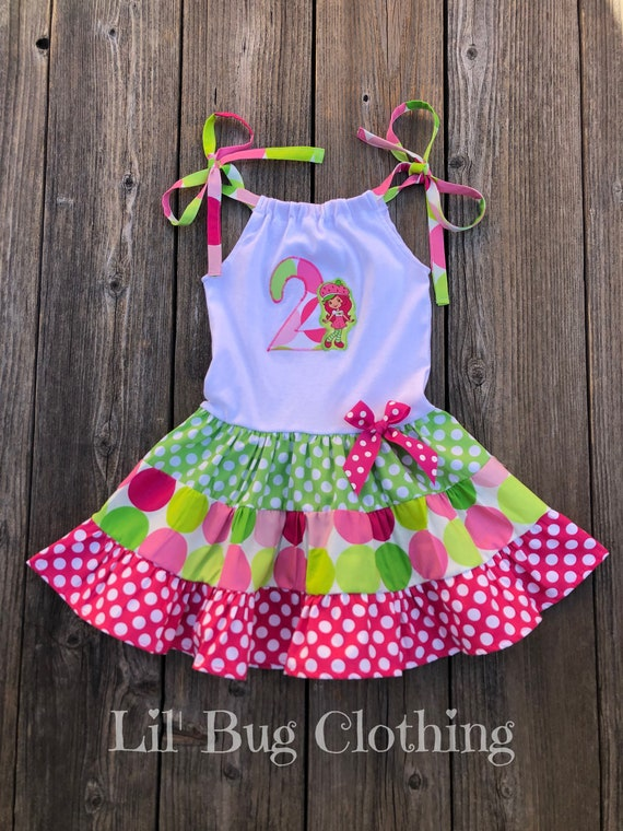 Strawberry Shortcake Dress, Strawberry Shortcake Birthday Girl Dress, Strawberry Shortcake Birthday Party, Custom Boutique Girl Clothes