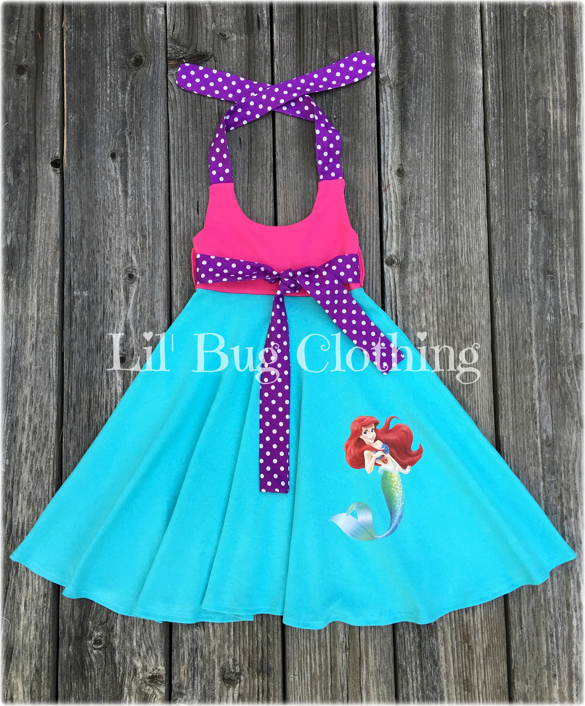 Little Mermaid Ariel Summer Dress Little Mermaid Birthday Party Girl Dress Little Mermaid Ariel Girl Clothes