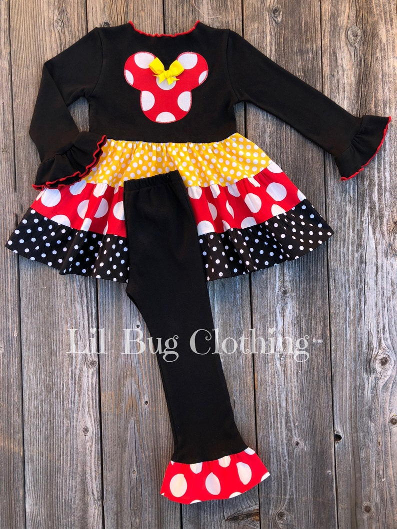 39eeeac9c Minnie Mouse Girls Outfit Minnie Mouse Red Yellow and Black | Etsy