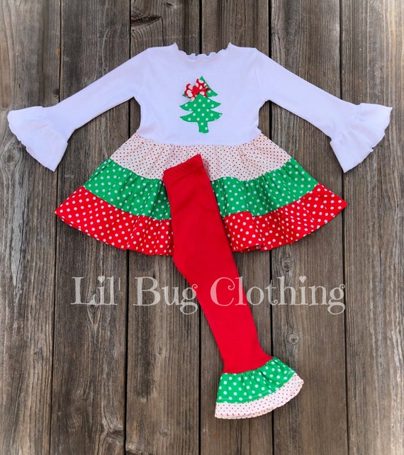 Boutique Clothing Holiday Girls Christmas Santa Outfit Set Red//White 3T
