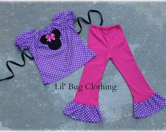 Custom Boutique Purple Pink Polka Dot Minnie Mouse Peasant Pant Set  9m 12 18 24 2t 3t 4t 5t 6 7