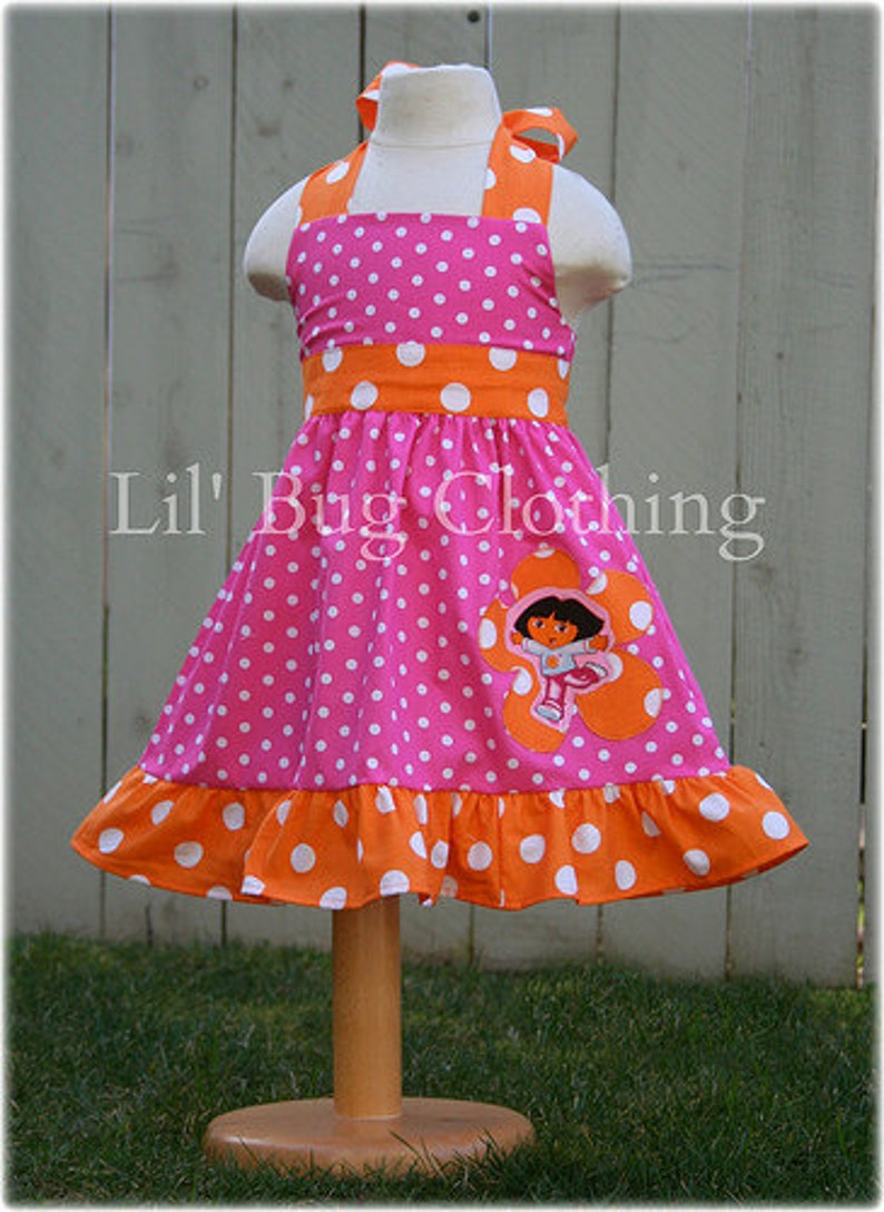 Dora Pink and Orange Polka Dot Birthday Girl Dress Pink Orange Polka Dot Dress Outfit Dora The Explorer Dress