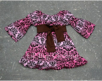 Custom Boutique Girl Cocoa Pink Damask Fall Peasant Dress