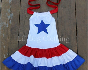 4th Of July Girls Dress, 4th Of July Pageant Dress, 4th Of July Red White Blue Dress, Boutique Girl 4th Of July Dress