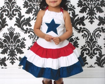4th Of July Girls Dress, 4th Of July Pageant Dress, 4th Of July Red White Blue Knit Dress, Boutique Girl 4th Of July Dress