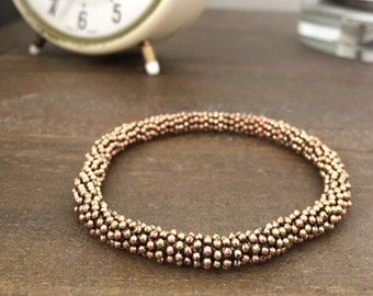 Mixed Metal Bracelet, Copper and Brass Jewelry, Stretch Beaded Bracelet, Stacking Bracelet, Rustic Copper Jewelry, Antiqued Metal Bracelet
