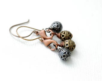 Mixed Metal Earrings, Boho Earrings, Copper and Brass Earrings, Rustic Jewelry, Industrial Jewelry, Unique Earrings, Textured Metal Earrings
