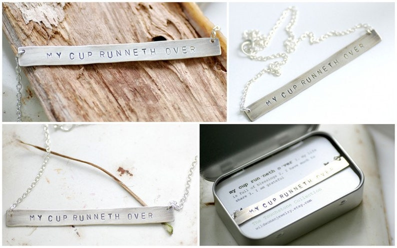 Silver Bar Necklace Touchstone Meditation Necklace My Cup Runneth Over Personalized Jewelry Religious Jewelry Gratitude Necklace