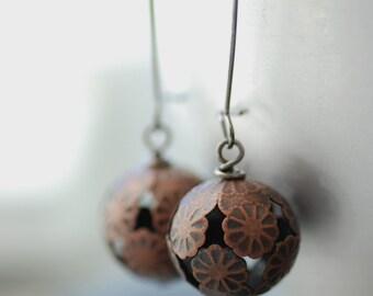 Copper Earrings, Filigree Earrings, Rustic Jewelry, Floral Jewelry, Drop Earrings, Rustic Wedding -  Forgotten Path