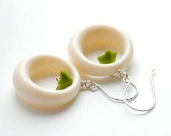 Lucite Earrings, Ivory Earrings, Hoop Earrings, Statement Earrings, Retro Earrings, Olive Green, Sterling Silver, Funky Earrings
