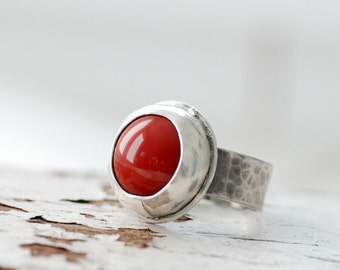 Red Glass Ring, Bezel Ring, Metalwork Ring, Blackened Silver Ring, Chunky Ring, Statement Ring, Rustic Ring, MADE TO ORDER