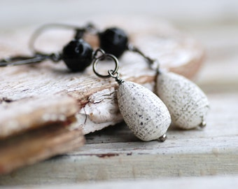 Rustic Earrings, Dangle Earrings, Distressed Black White Vintage Acrylic, Sterling Silver and Gunmetal -  And the Stars through her Soul