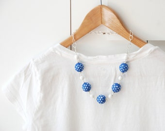 Blue and White Necklace, Polka Dot Jewelry, Summer Statement Necklace, Chunky Vintage Lucite Necklace, Large Bead Necklace