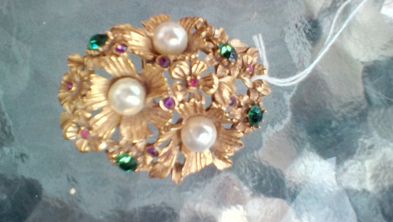 Florenza brooch, goldtone with suffragette colors