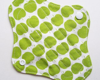 "7"" Cotton Non-Waterproof Panty Liner, Green Apples White, Cloth Menstrual Pad, Cloth Panty Liner, Cloth San Pro CSP, Incontinence Pad Liner"