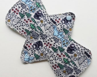 """9.5"""" Regular Cotton Flannel Flare Contoured Cloth Menstrual Pad, Wilderness Bear Mountain Tree Grey, Adult Incontinence Pad Moderate Day Pad"""