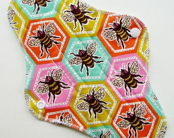 "10.5"" Cotton Regular Cloth Menstrual Pad, Bees Honeybees Honeycomb Blue Pink Orange, Incontinence Pad, Cloth Sanpro, Plus Size Pad Moon Pad"