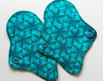 """Set of 2 - 6"""" Cotton Thong Panty Liners, Turquoise Blue Geometric Triangles, Cloth Menstrual Pad, Panty Liner, G-string Liner, Cloth Sanpro"""