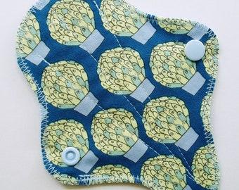 "6"" Thong Cotton Panty Liner, Blue Green Succulent Cactus, Cloth Menstrual Pad, Cloth San Pro CSP, Incontinence Liner, G-String Panty Liner"