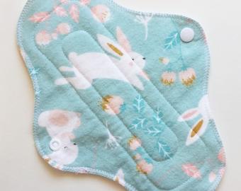 "9"" Cotton Flannel Regular Cloth Menstrual Pad, Bunny Rabbit Blue White Cute Animal Incontinence Pad, Cloth Sanpro CSP, Reusable Washable Pad"