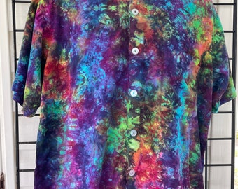Hand Dyed Deep Electric Rainbow Tiedyed Button Down Rayon Oxford