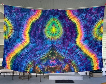 Beautiful Rainbow Tiedyed Hand Dyed Tapestry Wall Hanging and Wall Decor 44 x 72