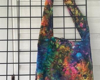 Rainbow Tie-dyed Bike, Beach, Farmers Market, Wide Shoulder Strap Big Cotton in Electric Rainbow