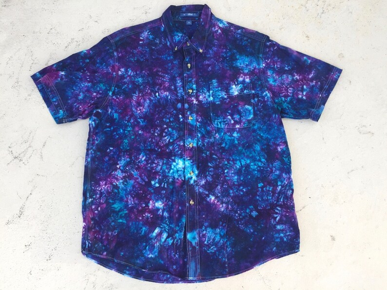 """<Span Data Preview Title="""""""">Tiedyed Misty Mountain Galactic Short Sleeved Or Long Sleeved Button Down Cotton...</Span>          <Span Data Full Title="""""""" Aria Hidden=""""True"""" Class=""""Display None"""">Tiedyed Misty Mountain Galactic Short Sleeved Or Long Sleev... by Etsy"""