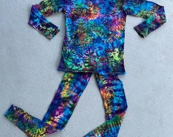 Deep Electric Rainbow Tiedyed Hooded Longsleeve and Leggings Set in size Medium
