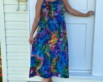Hand dyed Tiedyed Rainbow Cotton Spaghetti Strap Dress in Deep Electric Rainbow