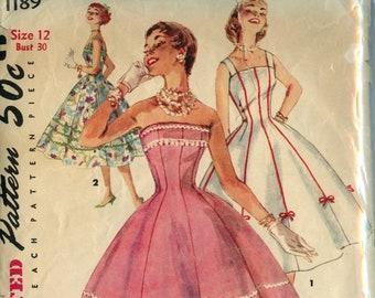 Vintage 50s Strapless Princess Dress Pattern- Simplicity 1189- Size 12- Bust 30