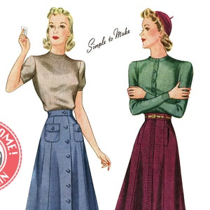 1940s Sewing Patterns – Dresses, Overalls, Lingerie etc E-Pattern- 1940s