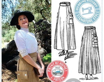 Evelyn 1910s Skirt Pattern- Circa 1917 E-Pattern PDF- Wearing History