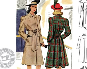 "E-Pattern- 1940s ""Casablanca"" Trench Coat Pattern- Sizes 30-46"" Bust Wearing History PDF Download Pattern"