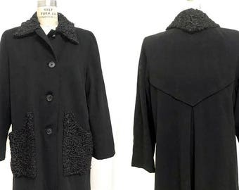 Vintage Black 1940s/50s Overcoat with Persian Lamb Fur Collar and Pockets