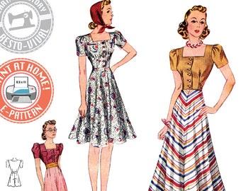 E-PATTERN- Circa 1939 Blouse, Skirt, Shorts & Girdle- 1930s 1940s- Wearing History PDF Vintage Sewing Pattern