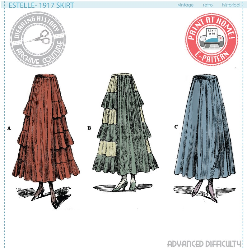 Edwardian Sewing Patterns- Dresses, Skirts, Blouses, Costumes  1917 Skirt with Circular Ruffles- Waist 26