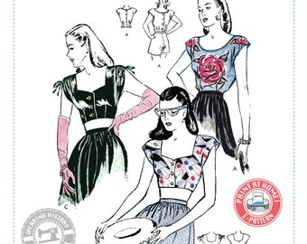 E-PATTERN-Lana- 1940s Blouse and Crop Tops Pattern- PDF Download- Wearing History