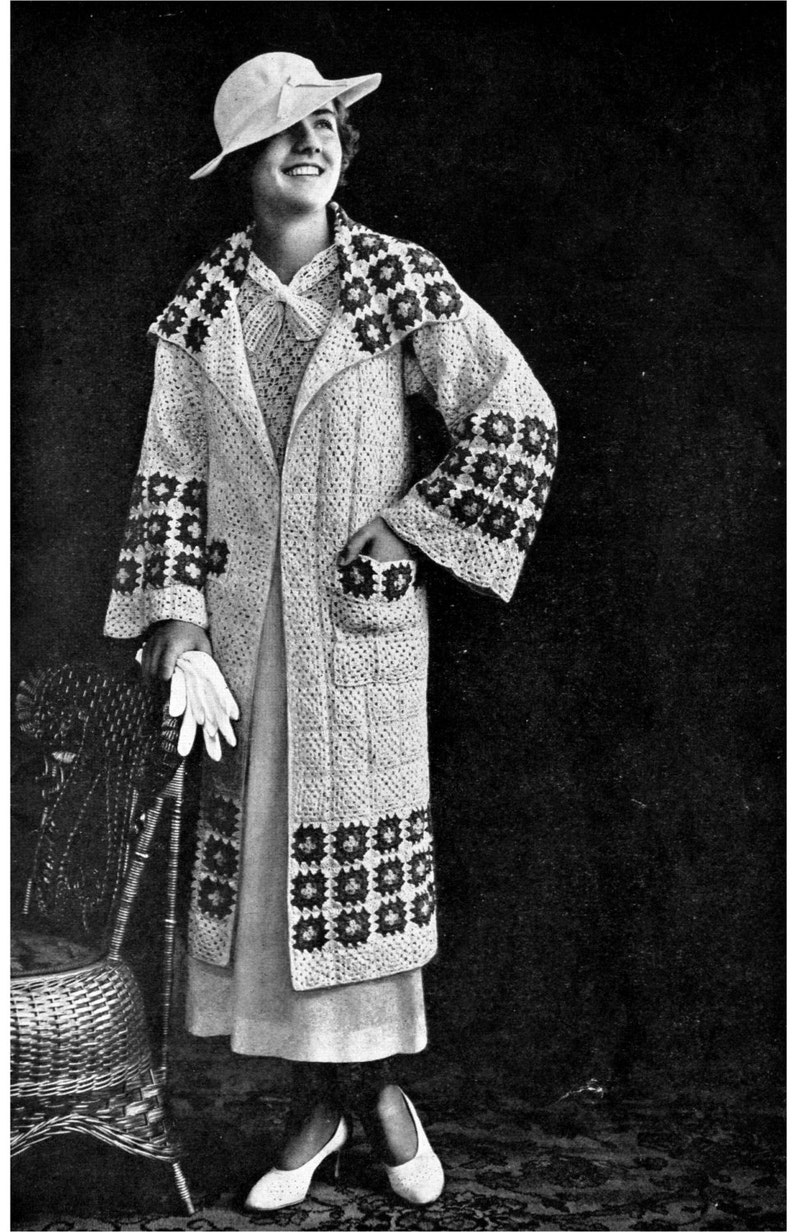 1930s Granny Square Sports Coat PDF Crochet E-Pattern image 0