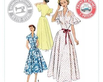 "E-Pattern- 1950s ""Jeannie"" Wrap Dress & House Coat Pattern- Sizes 30-46"" Bust Wearing History PDF Download Pattern Negligee Dressing Gown"