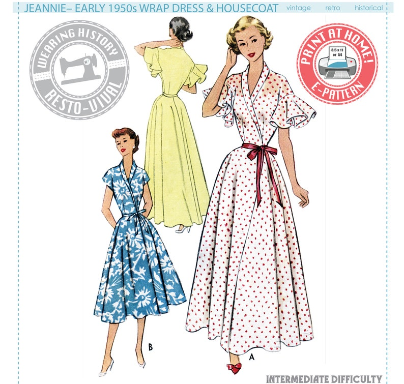 1950s Sewing Patterns | Dresses, Skirts, Tops, Mens E-Pattern- 1950s