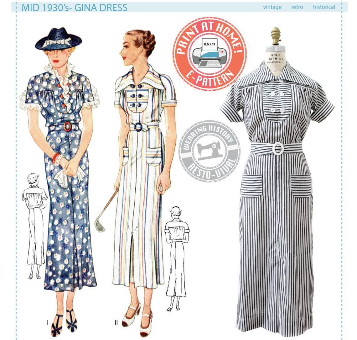 E-PATTERN-Mid 1930's Gina Dress Pattern 1930s 30s image 0