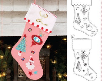 E-PATTERN- 1950's Novelty Felt Stocking Pattern- Wearing History Mid Century Christmas Craft Sewing PDF