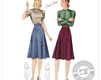 "PRINTED PATTERN- 1940s ""Rebecca"" Skirt Pattern- Sizes 26-36"" Waist Wearing History Physical paper Pattern 40s"