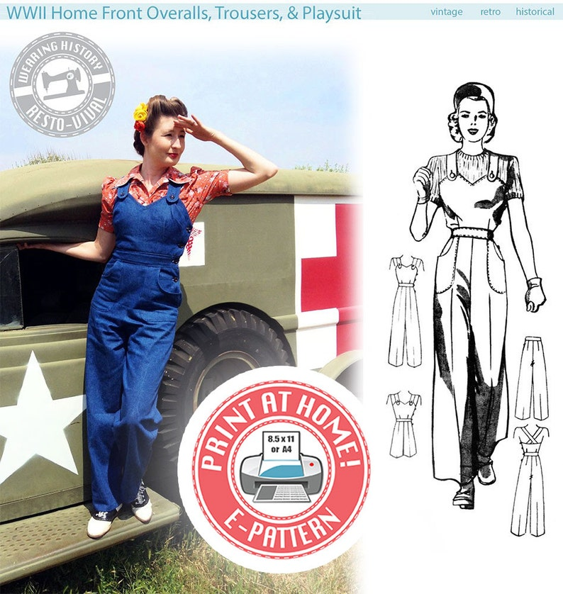 E-Pattern Size B WWII Homefront 1940s Overalls Playsuit & image 0