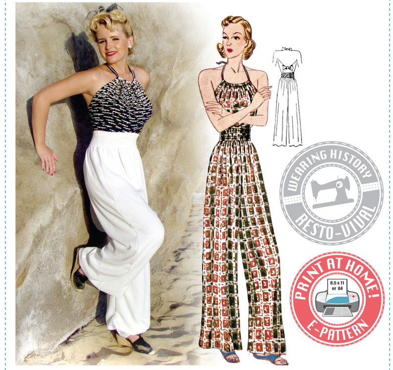 1930s Fashion Colors & Fabric E-Pattern- Late 1930s Elastic Waist Trousers & Halter Top Beach Pajamas- Wearing History PDF $9.99 AT vintagedancer.com