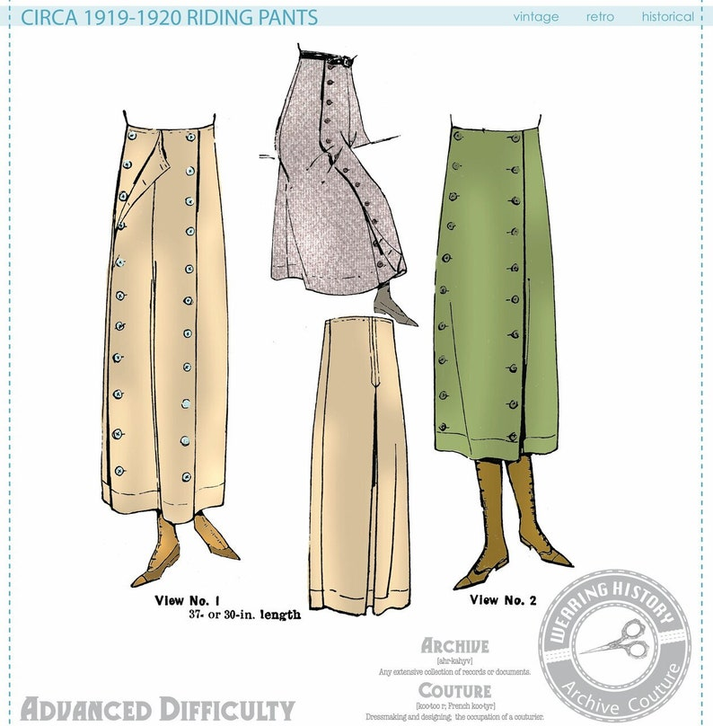 Edwardian Sewing Patterns- Dresses, Skirts, Blouses, Costumes PRINTED PATTERN- Circa 1919-1920 Riding Pants Pattern- WWI 1910s 1920s- Wearing History $19.99 AT vintagedancer.com