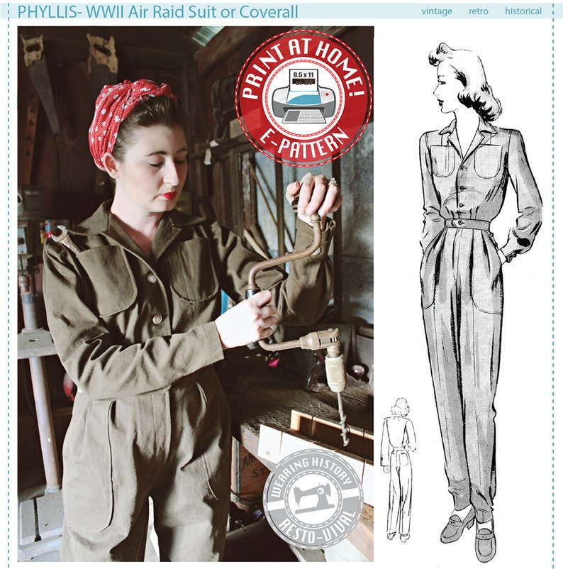 E-PATTERN Phyllis 1940s WWII 1940s Air Raid Suit or image 0